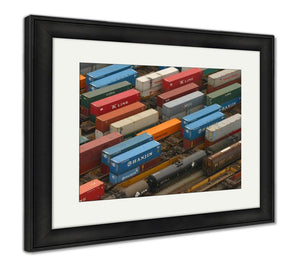 Framed Print, Train Yard In The Vancouver Loading Zone
