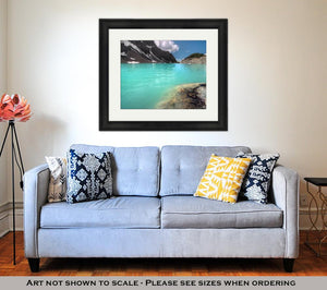 Framed Print, Blue Sky Above Mountain Lake