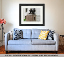 Load image into Gallery viewer, Framed Print, John Harvard Statue In Harvard University