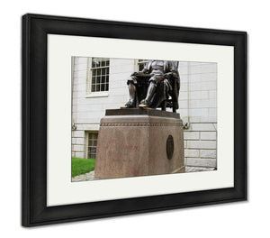 Framed Print, John Harvard Statue In Harvard University