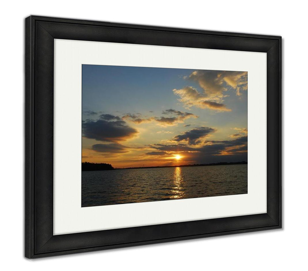 Framed Print, Sunset On Lake Norman Nc