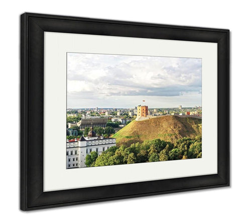 Framed Print, Panorama Of Gediminas Tower And Lower Castle In Vilnius