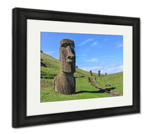 Load image into Gallery viewer, Framed Print, Moai Statues In Rano Raraku Volcano Easter Island Chile