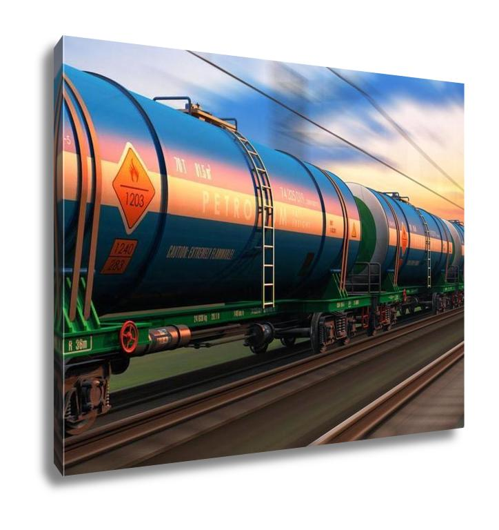 Gallery Wrapped Canvas, Freight Train With Petroleum Tankcars
