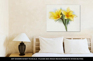 Gallery Wrapped Canvas, Watercolor Painting Yellow Lilies Flower
