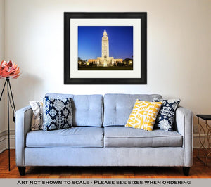 Framed Print, Louisiana State Capitol Building Against Clear Sky Night Baton Rouge