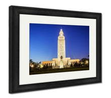 Load image into Gallery viewer, Framed Print, Louisiana State Capitol Building Against Clear Sky Night Baton Rouge
