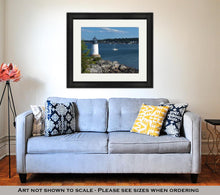Load image into Gallery viewer, Framed Print, Salem Harbor Lighthouse At Fort Pickering On Winter Island In Massachusetts