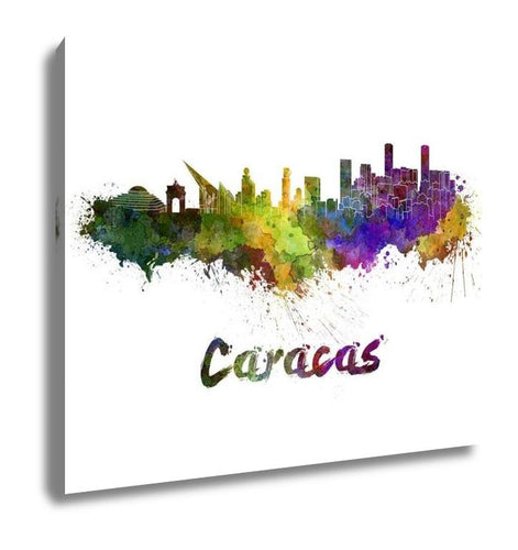 Gallery Wrapped Canvas, Caracas Skyline In Watercolor