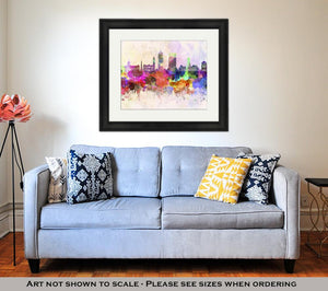 Framed Print, Indianapolis Skyline In Artistic Abstract Watercolor