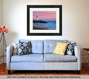 Framed Print, Santa Cruz Breakwater Lighthouse In Santa Cruz California At Sunset