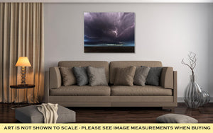 Gallery Wrapped Canvas, Amazing Supercell Lighted Up By Lightnings At Dusk