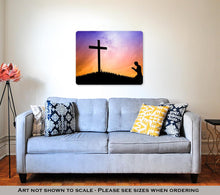 Load image into Gallery viewer, Metal Panel Print, Man Praying Under The Cross