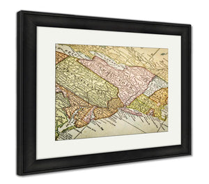 Framed Print, USA East Coast On Vintage Map