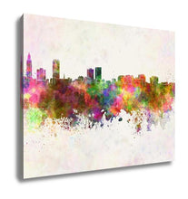 Load image into Gallery viewer, Gallery Wrapped Canvas, Baton Rouge Skyline In Watercolor