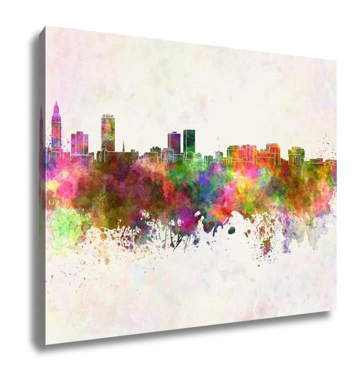 Gallery Wrapped Canvas, Baton Rouge Skyline In Watercolor