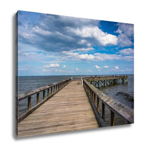 Gallery Wrapped Canvas, Pier In The Chesapeake Bay At Downs Park In Pasadena Maryland