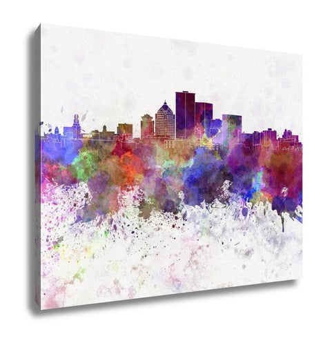 Gallery Wrapped Canvas, Rochester Ny Skyline In Watercolor