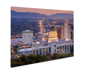 Metal Panel Print, Salt Lake City Utah At Night