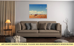 Gallery Wrapped Canvas, Horses On Meadow In Summer