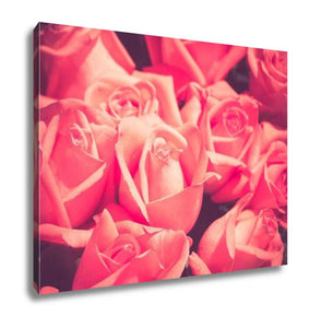 Gallery Wrapped Canvas, Flowers Rose With Filter Effect Retro Vintage Style
