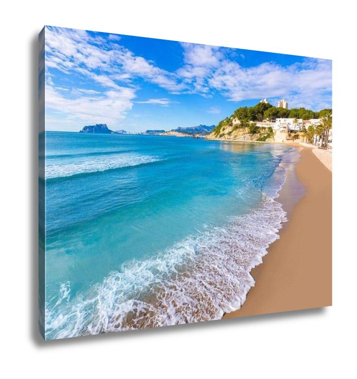 Gallery Wrapped Canvas, Moraira Playa El Portet Beach Turquoise Water In Alicante