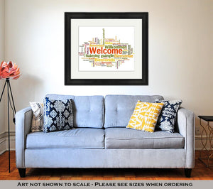 Framed Print, Welcome Phrase Words Cloud Concept