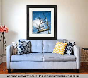 Framed Print, Electricity Post And The Transformer