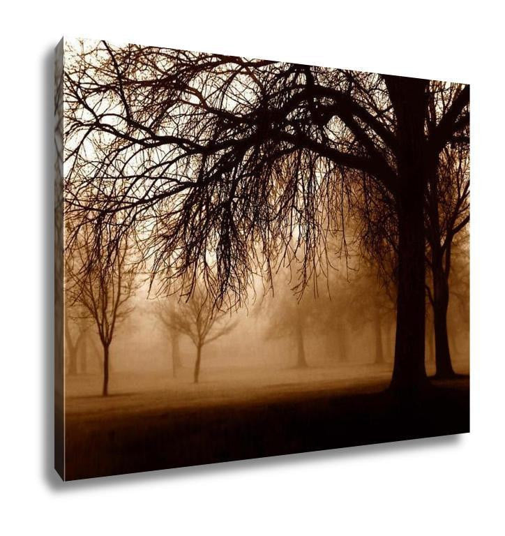 Gallery Wrapped Canvas, Trees In Foggy Forest