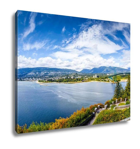 Gallery Wrapped Canvas, Vancouver Skyline Panorama Taken At Prospect Point Stanley Park Showing Lions