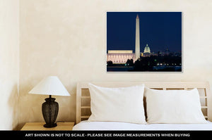 Gallery Wrapped Canvas, Washington Dc Skyline Including Lincoln Memorial Washington Monument And The