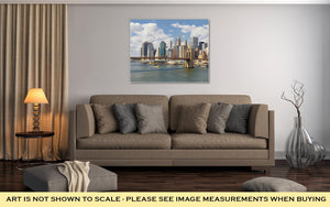 Gallery Wrapped Canvas, Manhattan Skyline With Brooklyn Bridge At Sunny Day