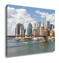 Load image into Gallery viewer, Gallery Wrapped Canvas, Manhattan Skyline With Brooklyn Bridge At Sunny Day