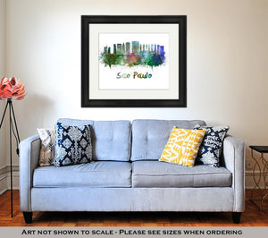 Framed Print, Sao Paulo Skyline In Watercolor Splatters With Clipping Path