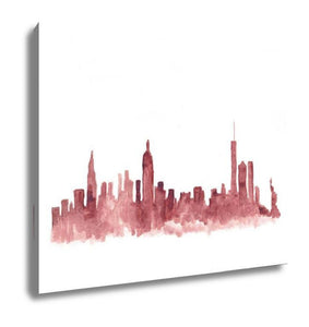 Gallery Wrapped Canvas, Pink Watercolor Skyline Of New York City In USA