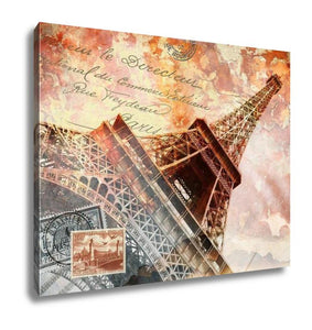 Gallery Wrapped Canvas, Eiffel Tower Paris Abstract Art