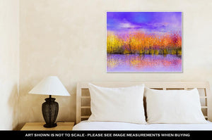 Gallery Wrapped Canvas, Oil Painting Landscape Colorful Autumn Trees Semi Abstract Image Of Forest