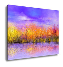 Load image into Gallery viewer, Gallery Wrapped Canvas, Oil Painting Landscape Colorful Autumn Trees Semi Abstract Image Of Forest