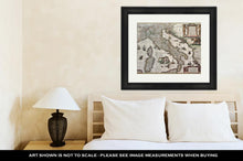 Load image into Gallery viewer, Framed Print, Vintage Map Of Italy Created By Henricus Hondius