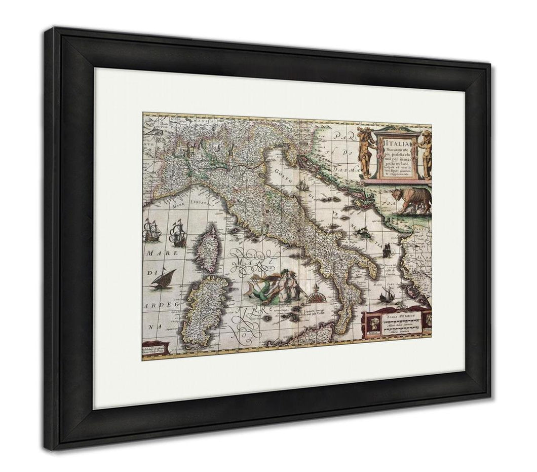 Framed Print, Vintage Map Of Italy Created By Henricus Hondius