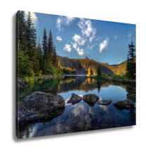 Load image into Gallery viewer, Gallery Wrapped Canvas, Clear Lake Pine Trees And Mountains