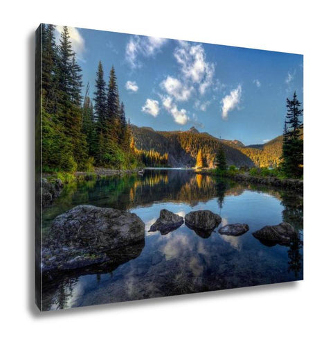 Gallery Wrapped Canvas, Clear Lake Pine Trees And Mountains
