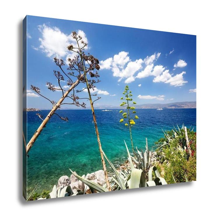 Gallery Wrapped Canvas, View From Hydra Island Castello Hydra And Kamini Beach Blue Sky