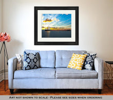 Load image into Gallery viewer, Framed Print, Sun Setting At The Sea With Tanker Ship
