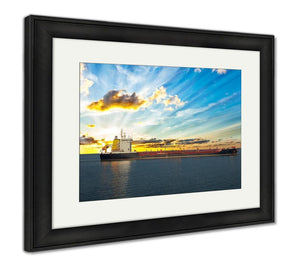 Framed Print, Sun Setting At The Sea With Tanker Ship