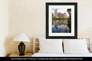Framed Print, Smooth Reflection Austin Texas Downtown City Skyline Colorado River