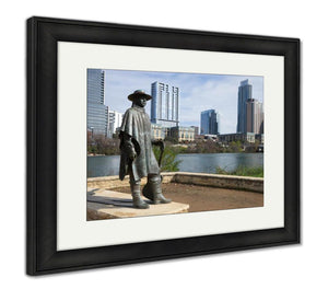 Framed Print, The Statue Of Stevie Ray Vaughan In Austin Texas