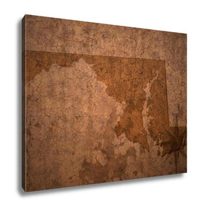Gallery Wrapped Canvas, Maryland State Map On A Old Vintage Crack Paper