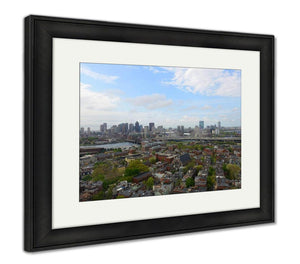 Framed Print, Boston City Skyscrapers And Charlestown From The Top Of Bunker Hill Monument