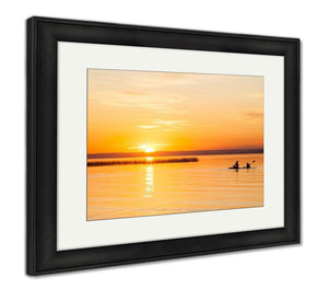 Framed Print, Silhouette Of Two Canoeists On Lake During Sunset